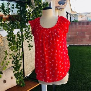 LAUREN CONRAD Brilliant Red and white bow blouse